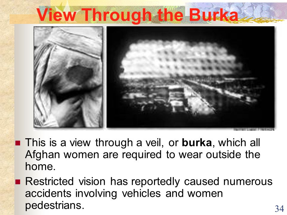 34 View Through the Burka This is a view through a veil, or burka, which all Afghan women are required to wear outside the home. Restricted vision has