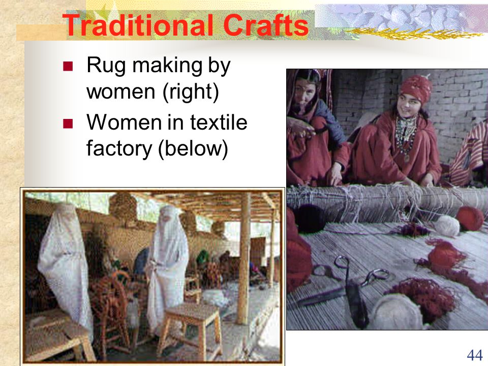 44 Traditional Crafts Rug making by women (right) Women in textile factory (below)