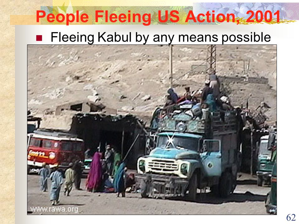 62 People Fleeing US Action, 2001 Fleeing Kabul by any means possible