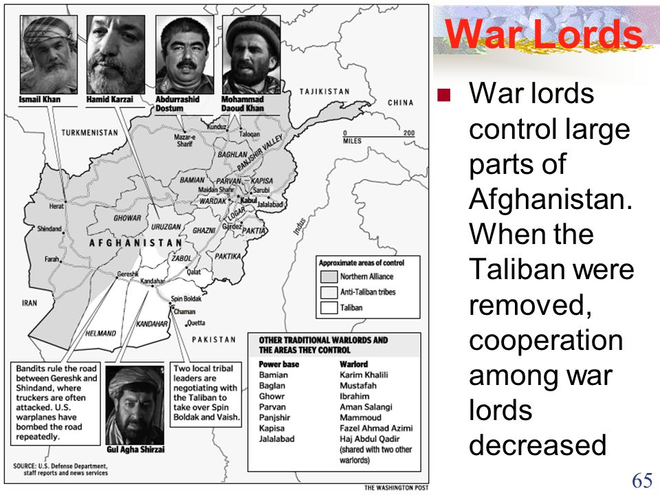 65 War Lords War lords control large parts of Afghanistan. When the Taliban were removed, cooperation among war lords decreased
