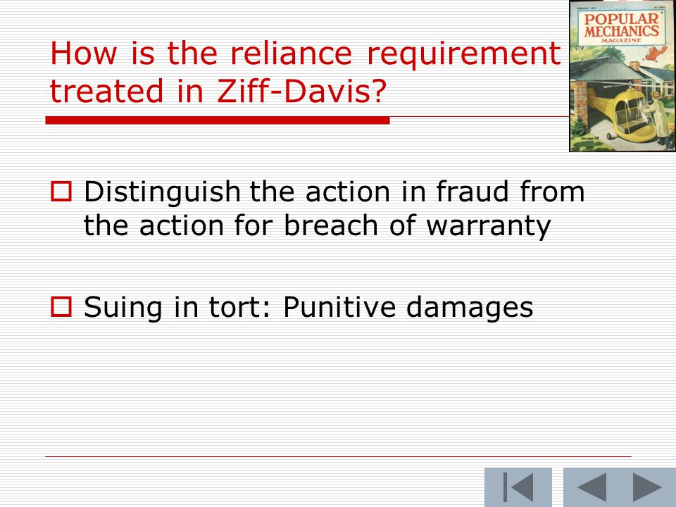 How is the reliance requirement treated in Ziff-Davis.