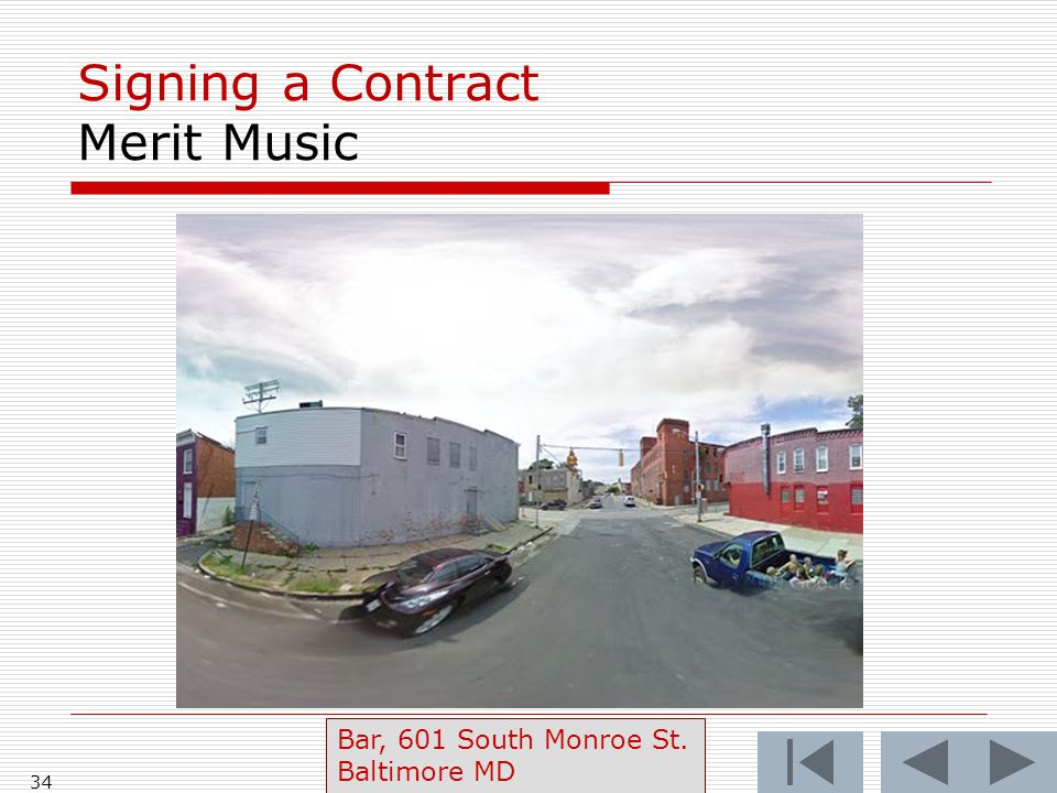 Signing a Contract Merit Music 34 Bar, 601 South Monroe St. Baltimore MD