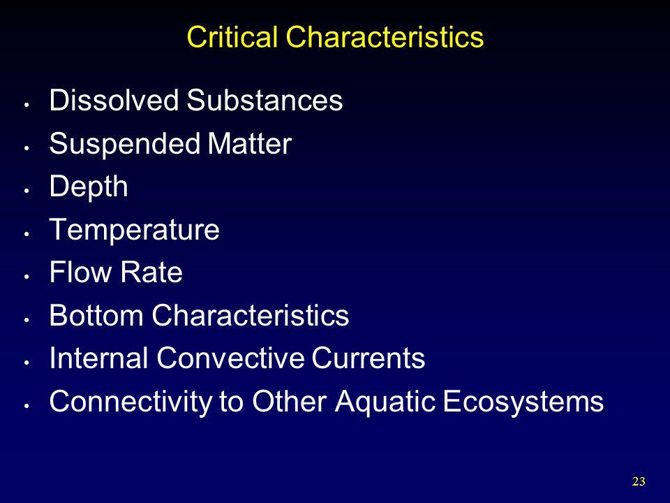23 Critical Characteristics Dissolved Substances Suspended Matter Depth Temperature Flow Rate Bottom Characteristics Internal Convective Currents Conn