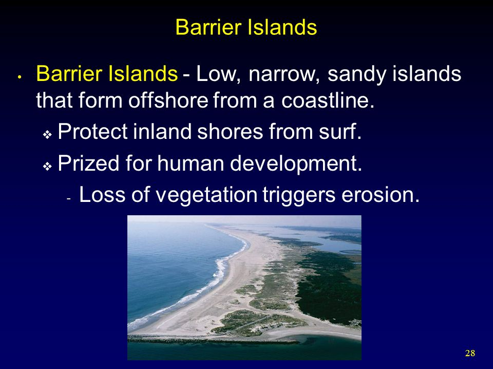 28 Barrier Islands Barrier Islands - Low, narrow, sandy islands that form offshore from a coastline.  Protect inland shores from surf.  Prized for h