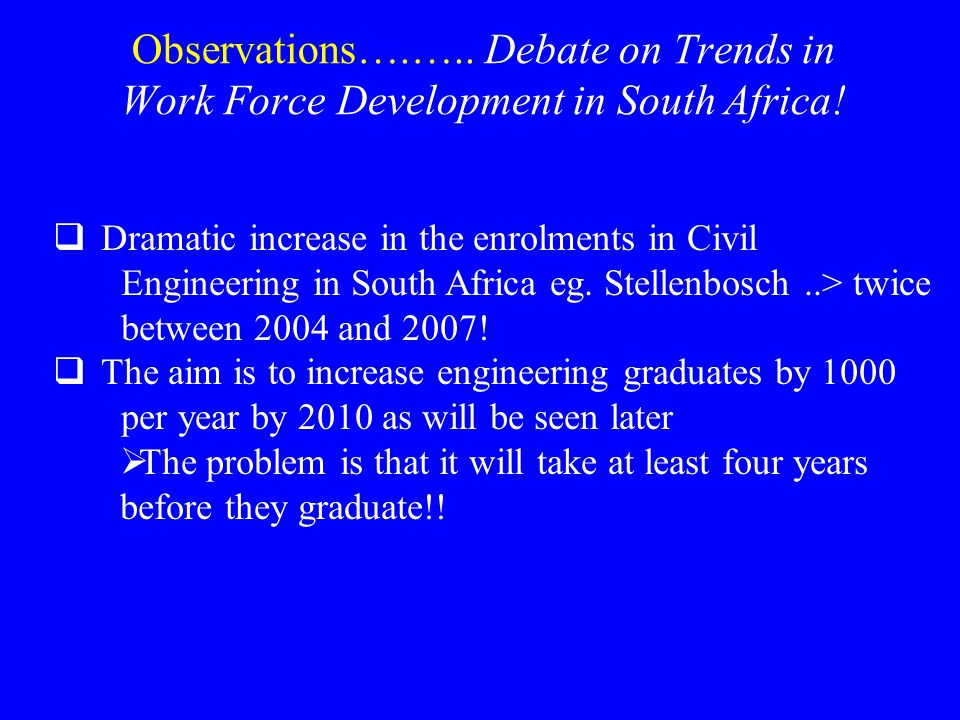 Observations….….. Debate on Trends in Work Force Development in South Africa.