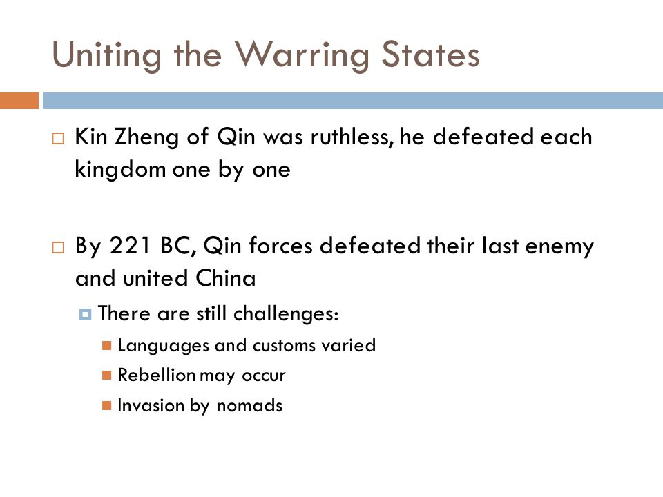 Fall of the Qin Dynasty  About 3 years after Shi Huagdi's death, the dynasty collapsed  A soldier named Chen Sheng led a rebellion  He was leading troops north to defend the borders of China, but a storm of heavy rains delayed them  He knew that arriving late would have a severe penalty so he and his men decided they had nothing to lose by rebelling