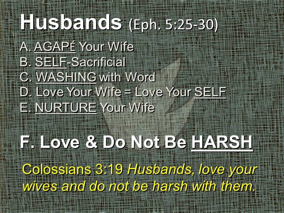 Husbands (Eph. 5:25-30) A. AGAP É Your Wife B. SELF-Sacrificial C.