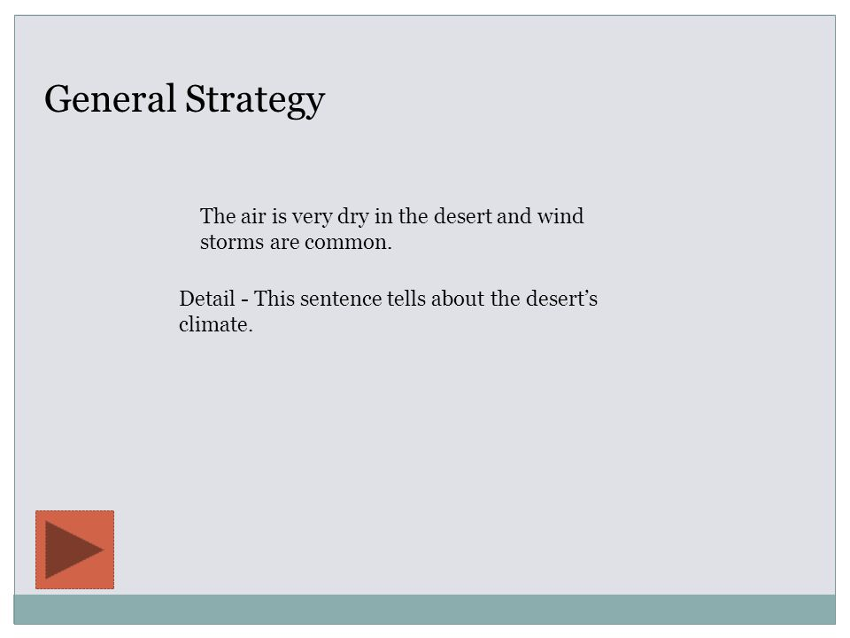 General Strategy Detail - This sentence tells about the desert's climate.