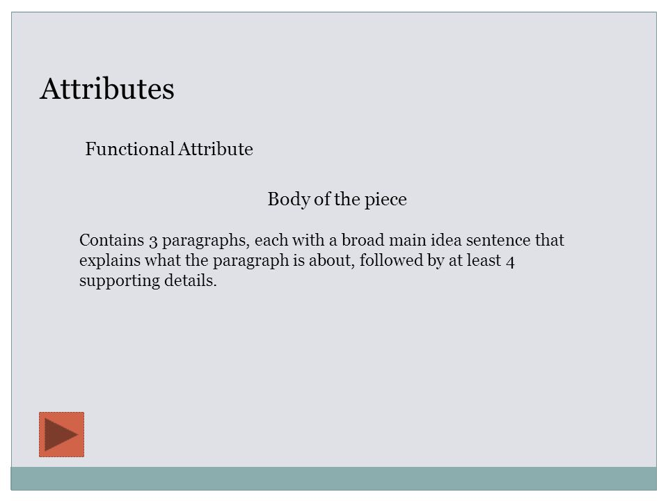 Attributes Functional Attribute Body of the piece Contains 3 paragraphs, each with a broad main idea sentence that explains what the paragraph is about, followed by at least 4 supporting details.