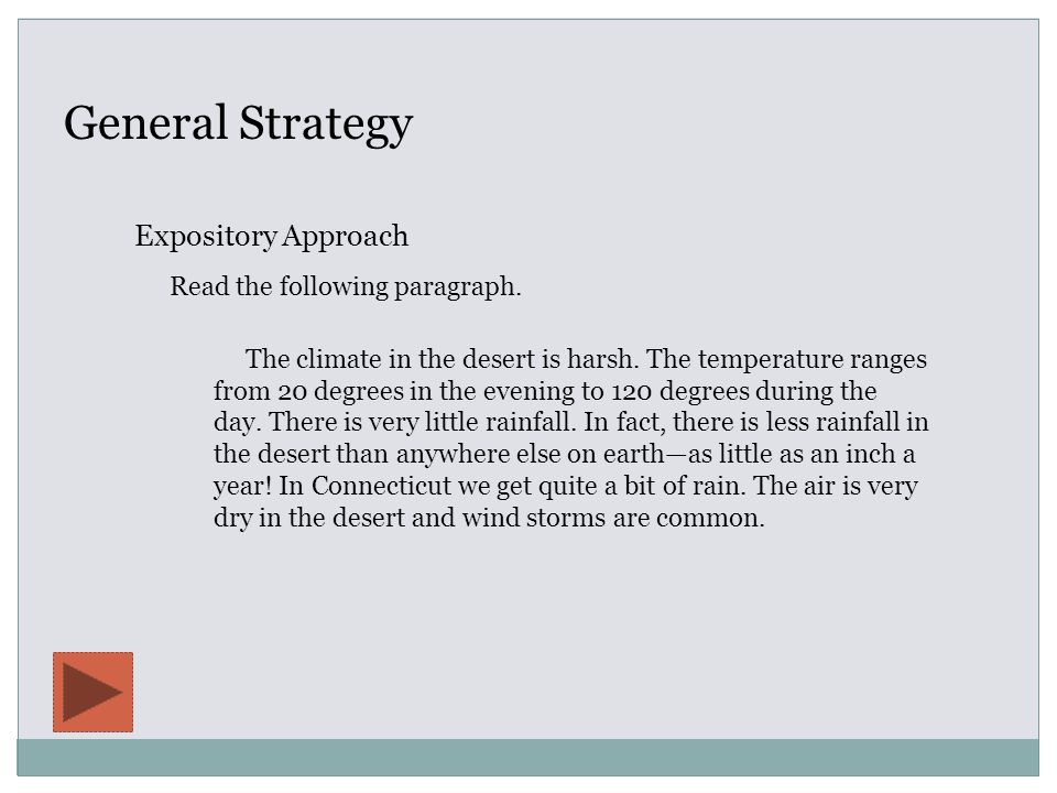 General Strategy Expository Approach The climate in the desert is harsh.