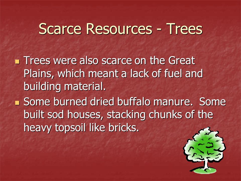 Scarce Resources - Trees Trees were also scarce on the Great Plains, which meant a lack of fuel and building material. Trees were also scarce on the G