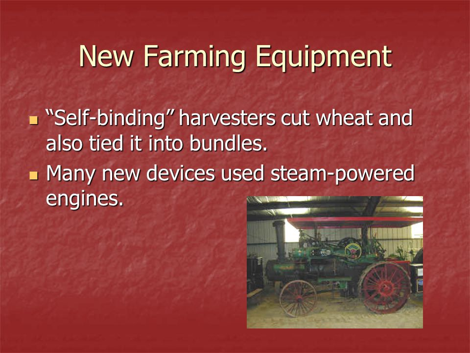 """New Farming Equipment """"Self-binding"""" harvesters cut wheat and also tied it into bundles. """"Self-binding"""" harvesters cut wheat and also tied it into bun"""