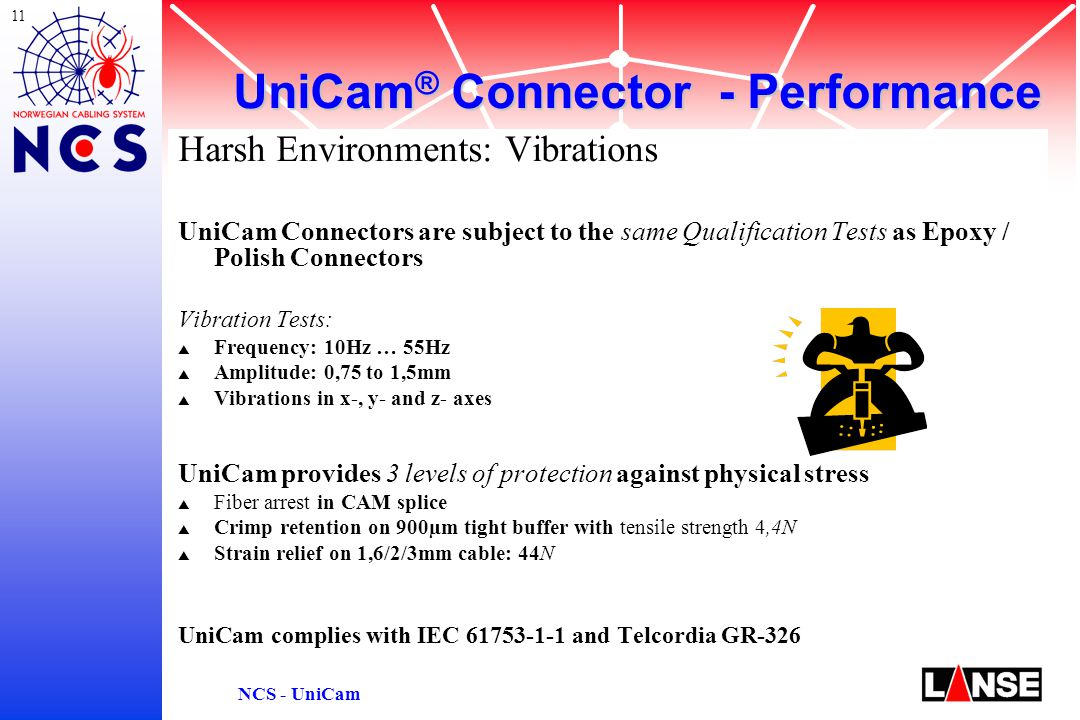 11 NCS - UniCam Harsh Environments: Vibrations UniCam Connectors are subject to the same Qualification Tests as Epoxy / Polish Connectors Vibration Tests: s Frequency: 10Hz … 55Hz s Amplitude: 0,75 to 1,5mm s Vibrations in x-, y- and z- axes UniCam provides 3 levels of protection against physical stress s Fiber arrest in CAM splice s Crimp retention on 900µm tight buffer with tensile strength 4,4N s Strain relief on 1,6/2/3mm cable: 44N UniCam complies with IEC 61753-1-1 and Telcordia GR-326 UniCam ® Connector - Performance