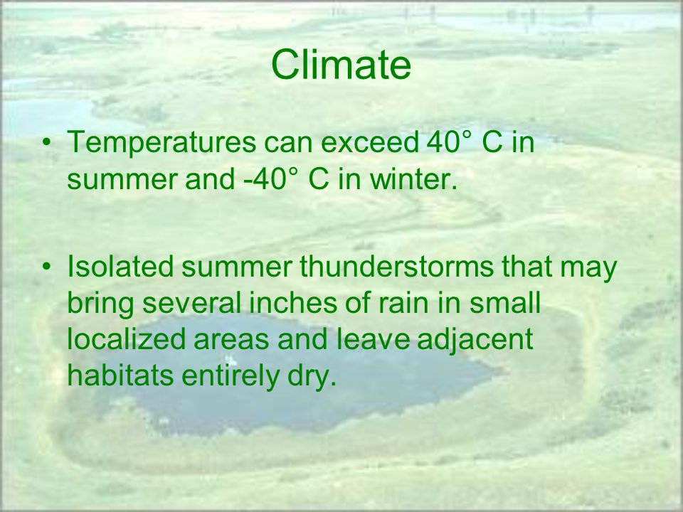 Climate Temperatures can exceed 40° C in summer and -40° C in winter.