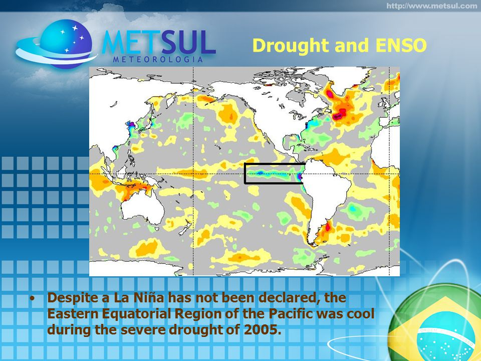 Drought and ENSO Despite a La Niña has not been declared, the Eastern Equatorial Region of the Pacific was cool during the severe drought of 2005.