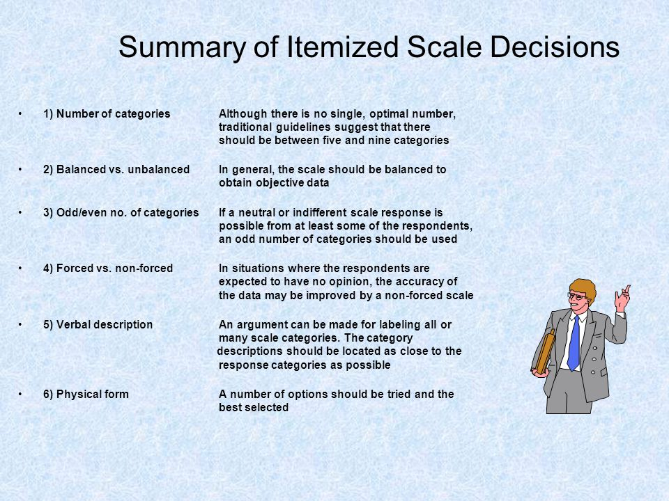 Summary of Itemized Scale Decisions 1) Number of categories Although there is no single, optimal number, traditional guidelines suggest that there sho