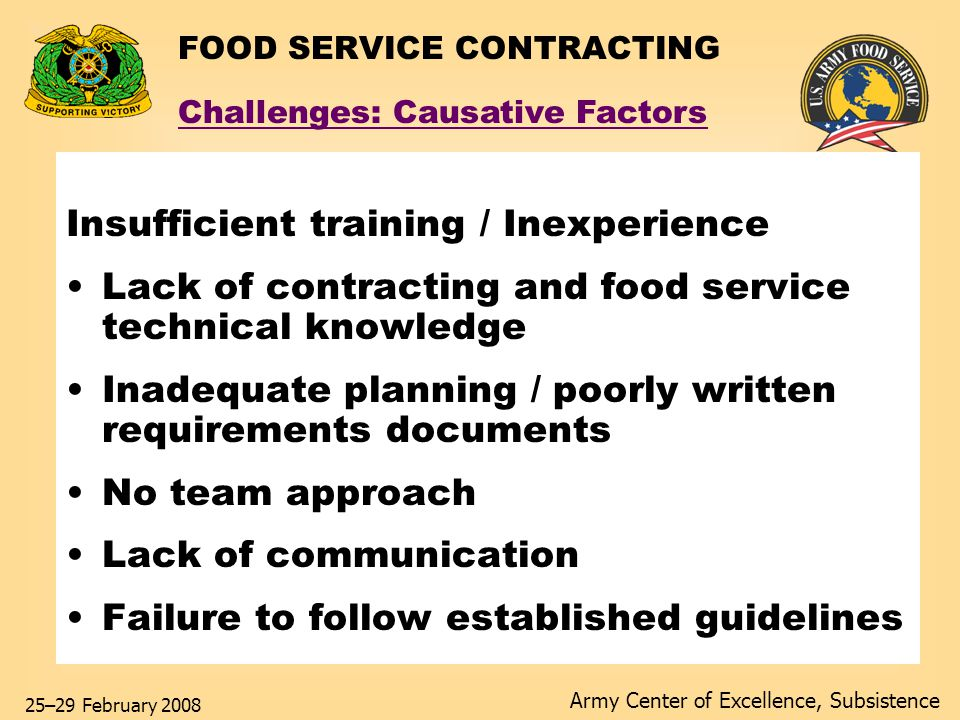Army Center of Excellence, Subsistence 25–29 February 2008 FOOD SERVICE CONTRACTING Insufficient training / Inexperience Lack of contracting and food service technical knowledge Inadequate planning / poorly written requirements documents No team approach Lack of communication Failure to follow established guidelines Challenges: Causative Factors