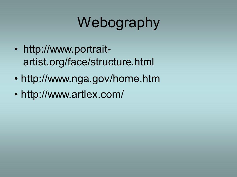 Webography http://www.portrait- artist.org/face/structure.html http://www.nga.gov/home.htm http://www.artlex.com/