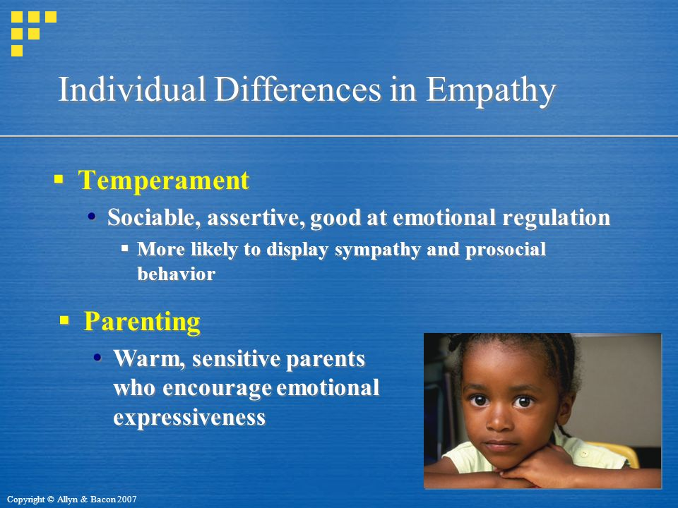Copyright © Allyn & Bacon 2007 Individual Differences in Empathy  Temperament  Sociable, assertive, good at emotional regulation  More likely to display sympathy and prosocial behavior  Temperament  Sociable, assertive, good at emotional regulation  More likely to display sympathy and prosocial behavior  Parenting  Warm, sensitive parents who encourage emotional expressiveness  Parenting  Warm, sensitive parents who encourage emotional expressiveness