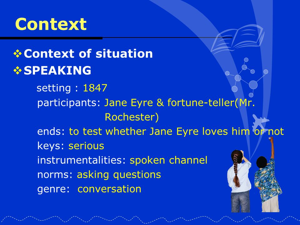 Context  Context of situation  SPEAKING setting : 1847 participants: Jane Eyre & fortune-teller(Mr. Rochester) ends: to test whether Jane Eyre loves