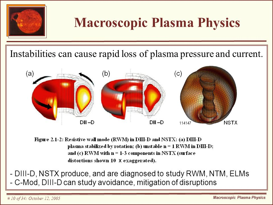 Macroscopic Plasma Physics Instabilities can cause rapid loss of plasma pressure and current.