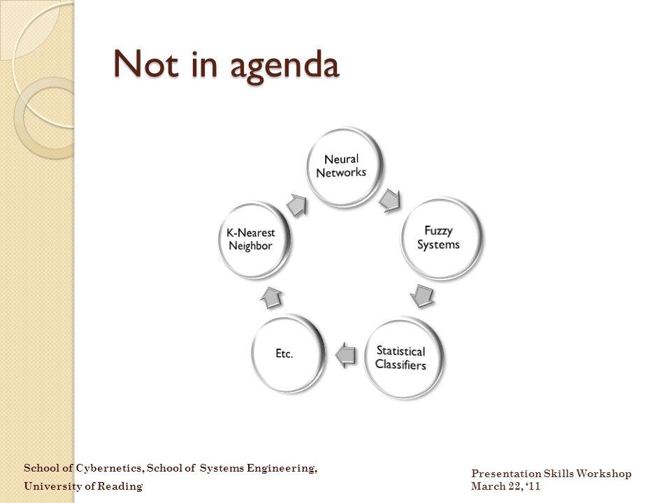 School of Cybernetics, School of Systems Engineering, University of Reading Presentation Skills Workshop March 22, '11 Not in agenda