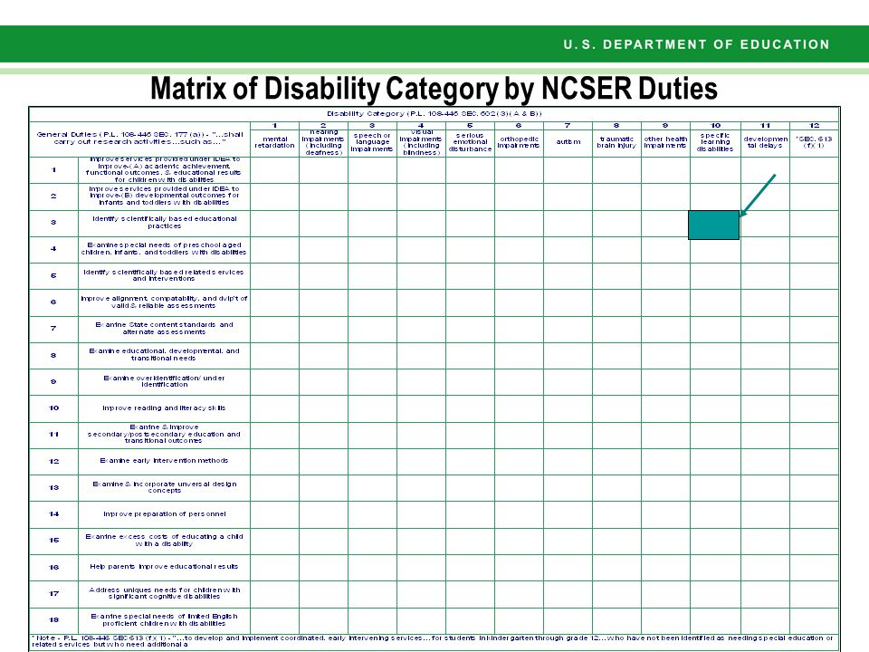 Features of NCSER Research Matrix NCSER Statutory responsibilities: 18 Disability Statutory categories: 12+ Total Research Matrix cells: 18 x 12= 216