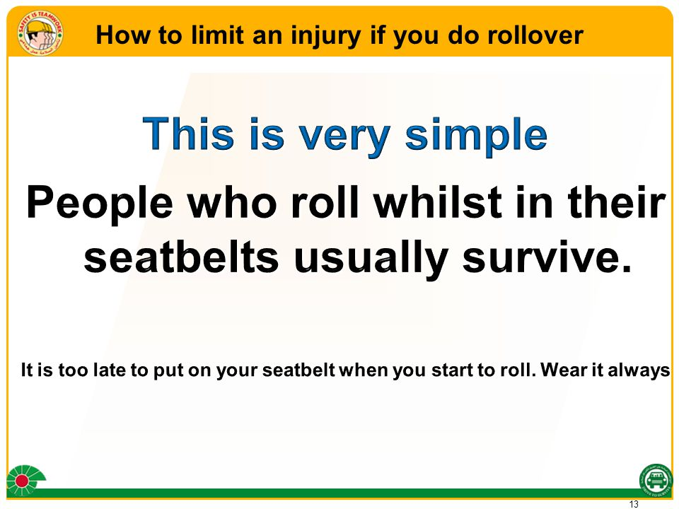 13 How to limit an injury if you do rollover