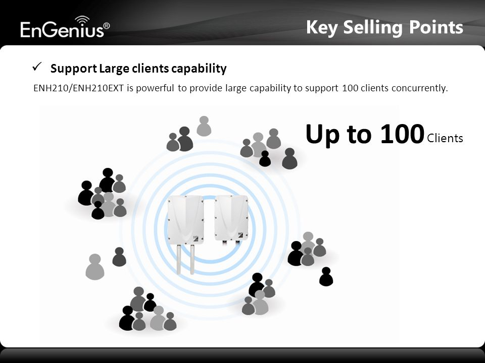  Support Large clients capability ENH210/ENH210EXT is powerful to provide large capability to support 100 clients concurrently. Key Selling Points Up