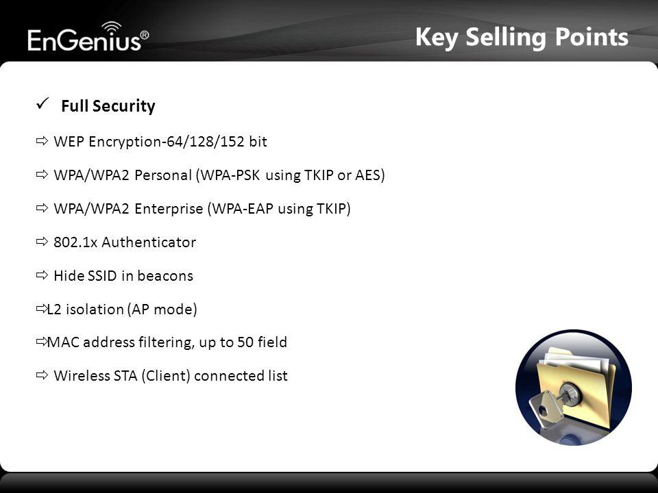  WEP Encryption-64/128/152 bit  WPA/WPA2 Personal (WPA-PSK using TKIP or AES)  WPA/WPA2 Enterprise (WPA-EAP using TKIP)  802.1x Authenticator  Hi