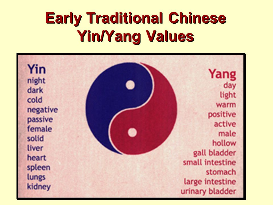 Early Traditional Chinese Yin/Yang Values