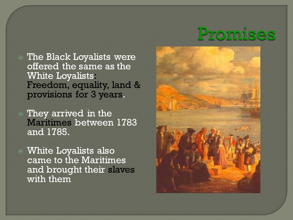  The Black Loyalists were offered the same as the White Loyalists: Freedom, equality, land & provisions for 3 years.  They arrived in the Maritimes