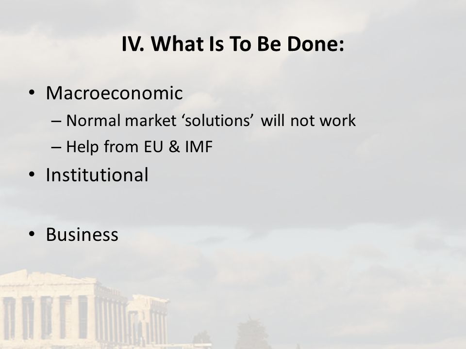 IV. What Is To Be Done: Macroeconomic – Normal market 'solutions' will not work – Help from EU & IMF Institutional Business