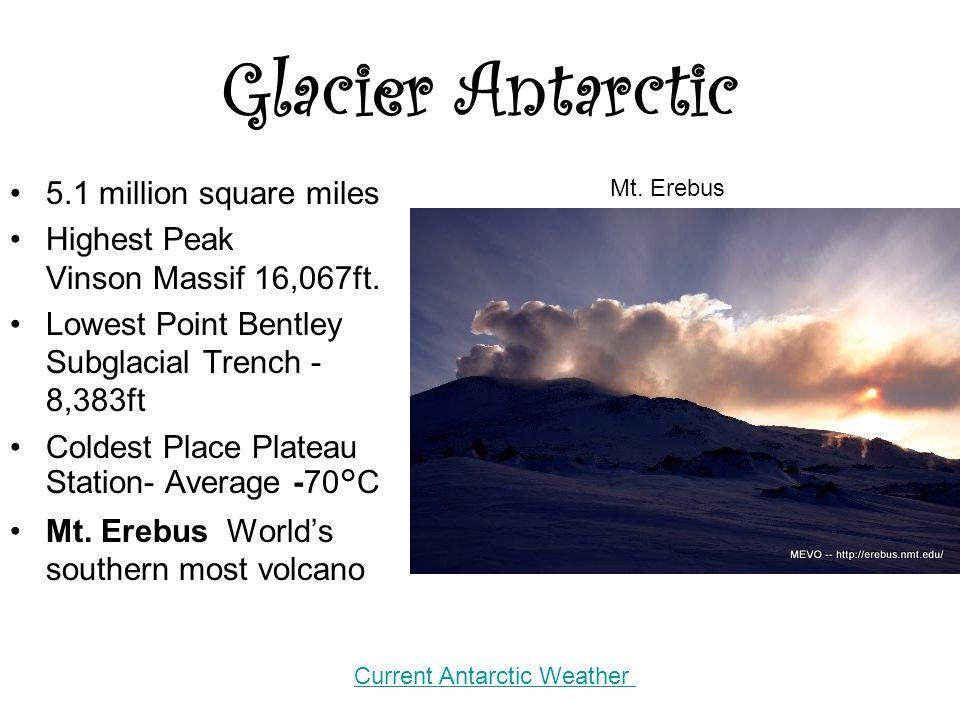 Glacier Antarctic 5.1 million square miles Highest Peak Vinson Massif 16,067ft. Lowest Point Bentley Subglacial Trench - 8,383ft Coldest Place Plateau