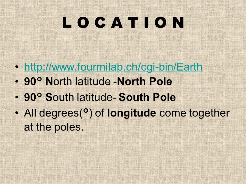 L O C A T I O N http://www.fourmilab.ch/cgi-bin/Earth 90° North latitude -North Pole 90° South latitude- South Pole All degrees(°) of longitude come t