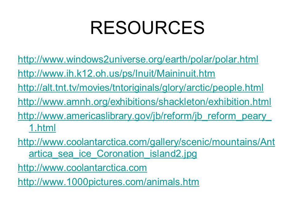 RESOURCES http://www.windows2universe.org/earth/polar/polar.html http://www.ih.k12.oh.us/ps/Inuit/Maininuit.htm http://alt.tnt.tv/movies/tntoriginals/