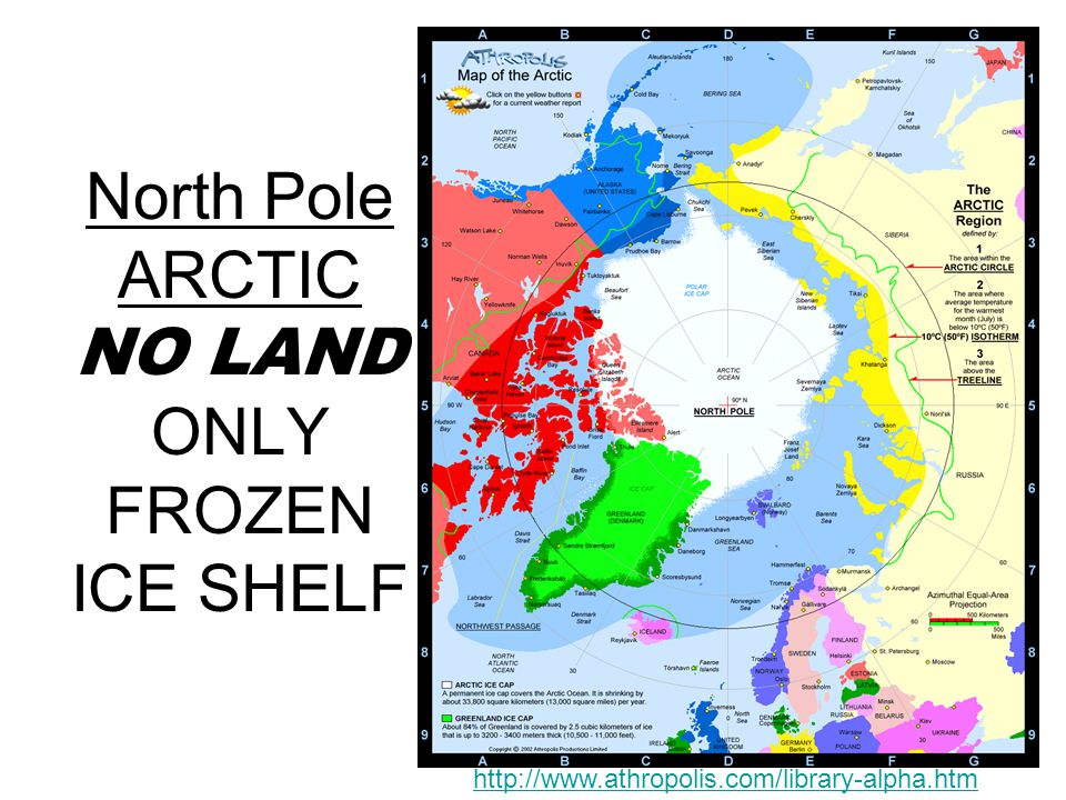 North Pole ARCTIC NO LAND ONLY FROZEN ICE SHELF http://www.athropolis.com/library-alpha.htm