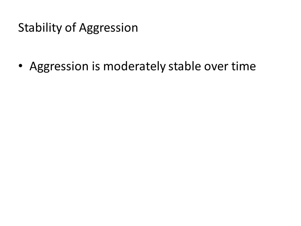 Stability of Aggression Aggression is moderately stable over time