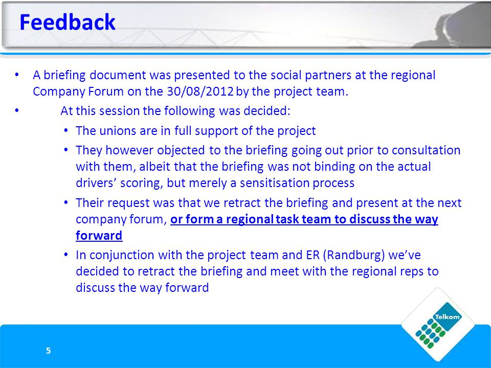 Feedback A briefing document was presented to the social partners at the regional Company Forum on the 30/08/2012 by the project team.