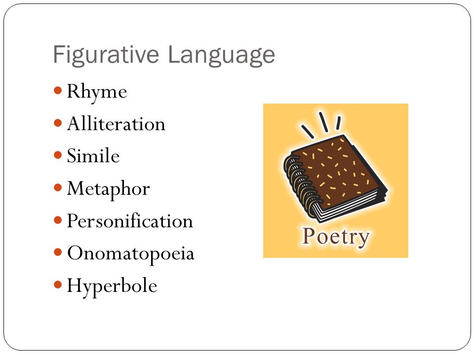 Figurative Language Rhyme Alliteration Simile Metaphor Personification Onomatopoeia Hyperbole