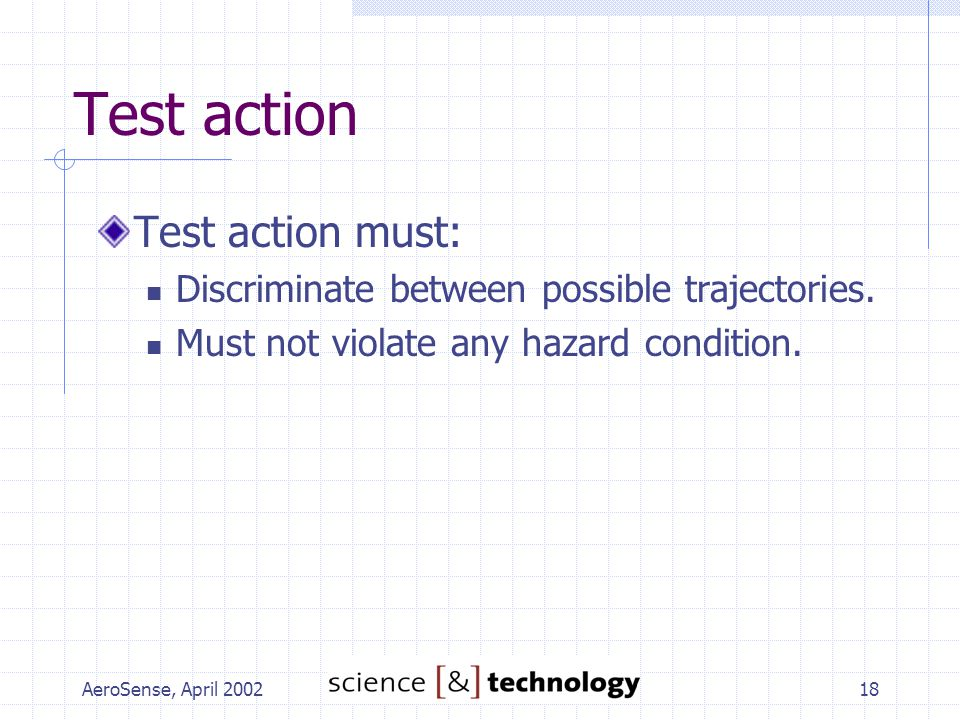AeroSense, April 200218 Test action Test action must: Discriminate between possible trajectories.