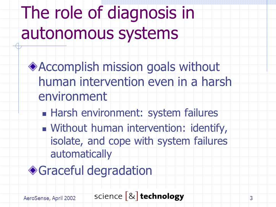 AeroSense, April 20023 The role of diagnosis in autonomous systems Accomplish mission goals without human intervention even in a harsh environment Har