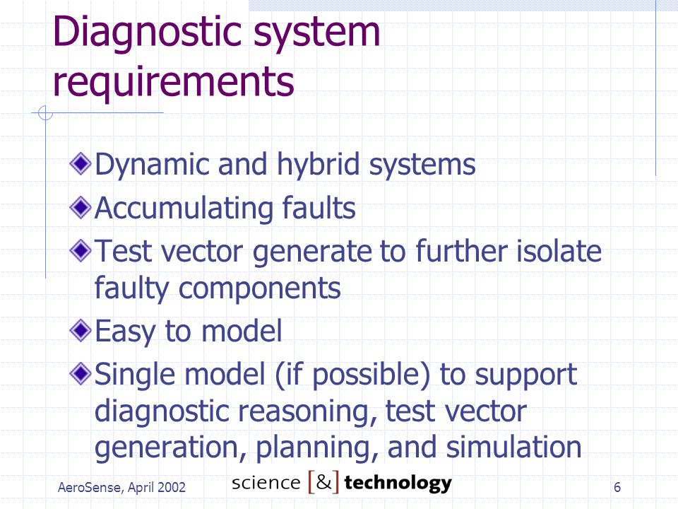 AeroSense, April 20026 Diagnostic system requirements Dynamic and hybrid systems Accumulating faults Test vector generate to further isolate faulty co
