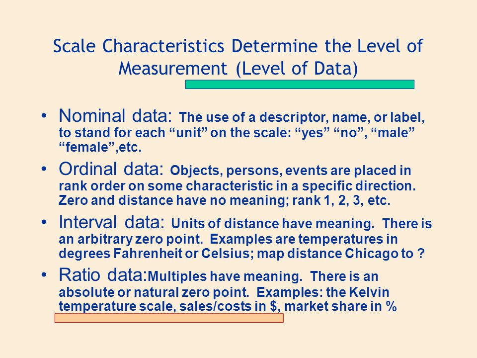 """Scale Characteristics Determine the Level of Measurement (Level of Data) Nominal data: The use of a descriptor, name, or label, to stand for each """"uni"""