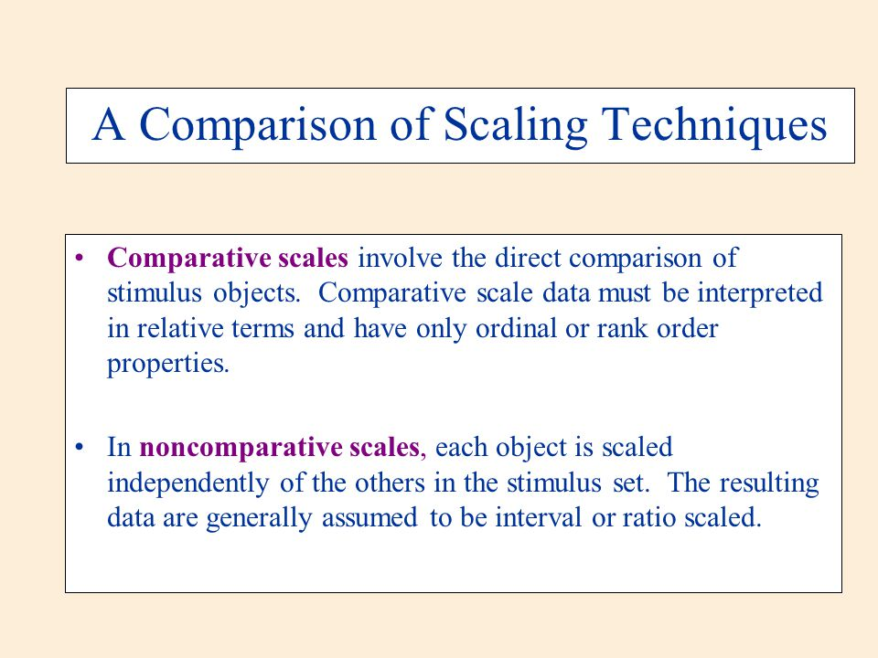 A Comparison of Scaling Techniques Comparative scales involve the direct comparison of stimulus objects. Comparative scale data must be interpreted in