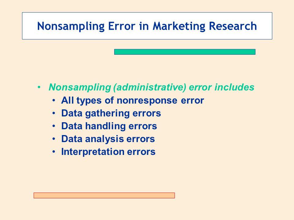 Nonsampling Error in Marketing Research Nonsampling (administrative) error includes All types of nonresponse error Data gathering errors Data handling