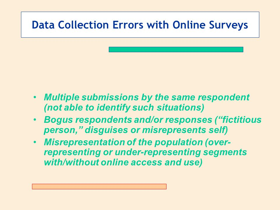 Data Collection Errors with Online Surveys Multiple submissions by the same respondent (not able to identify such situations) Bogus respondents and/or