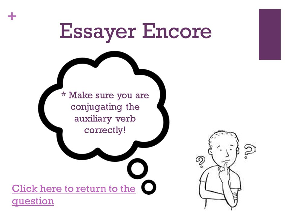 + Essayer Encore *Keep in mind that verbs with être need to have gender agreement! Click here to return to the question
