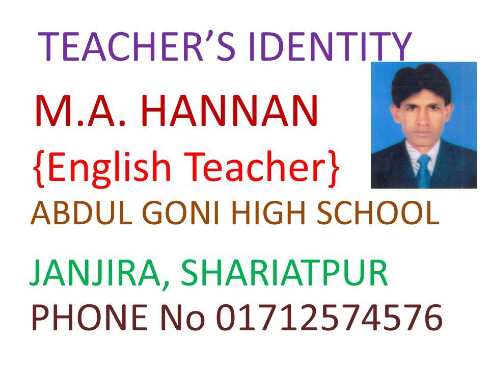 TEACHER'S IDENTITY M.A.