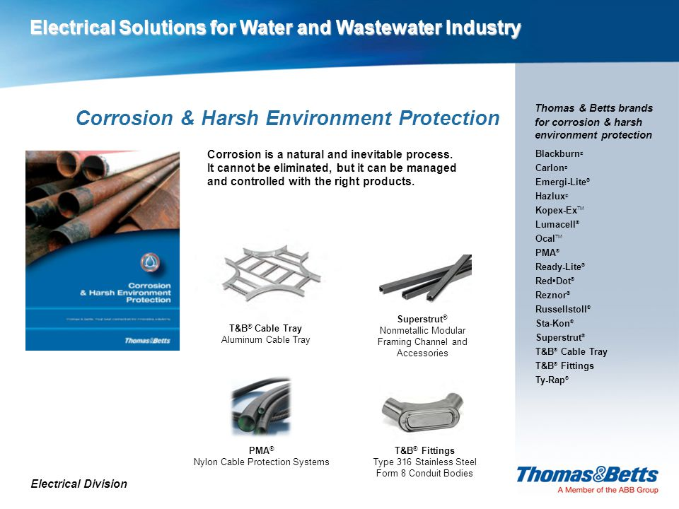 Corrosion & Harsh Environment Protection Electrical Division Thomas & Betts brands for corrosion & harsh environment protection Corrosion is a natural and inevitable process.